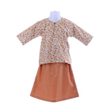 Girl's Little Flower Baby Brown Baju Kurung