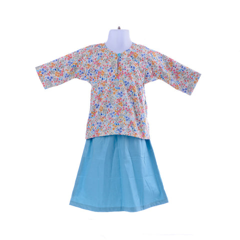 Girl's Little Flower Baby Blue Baju Kurung