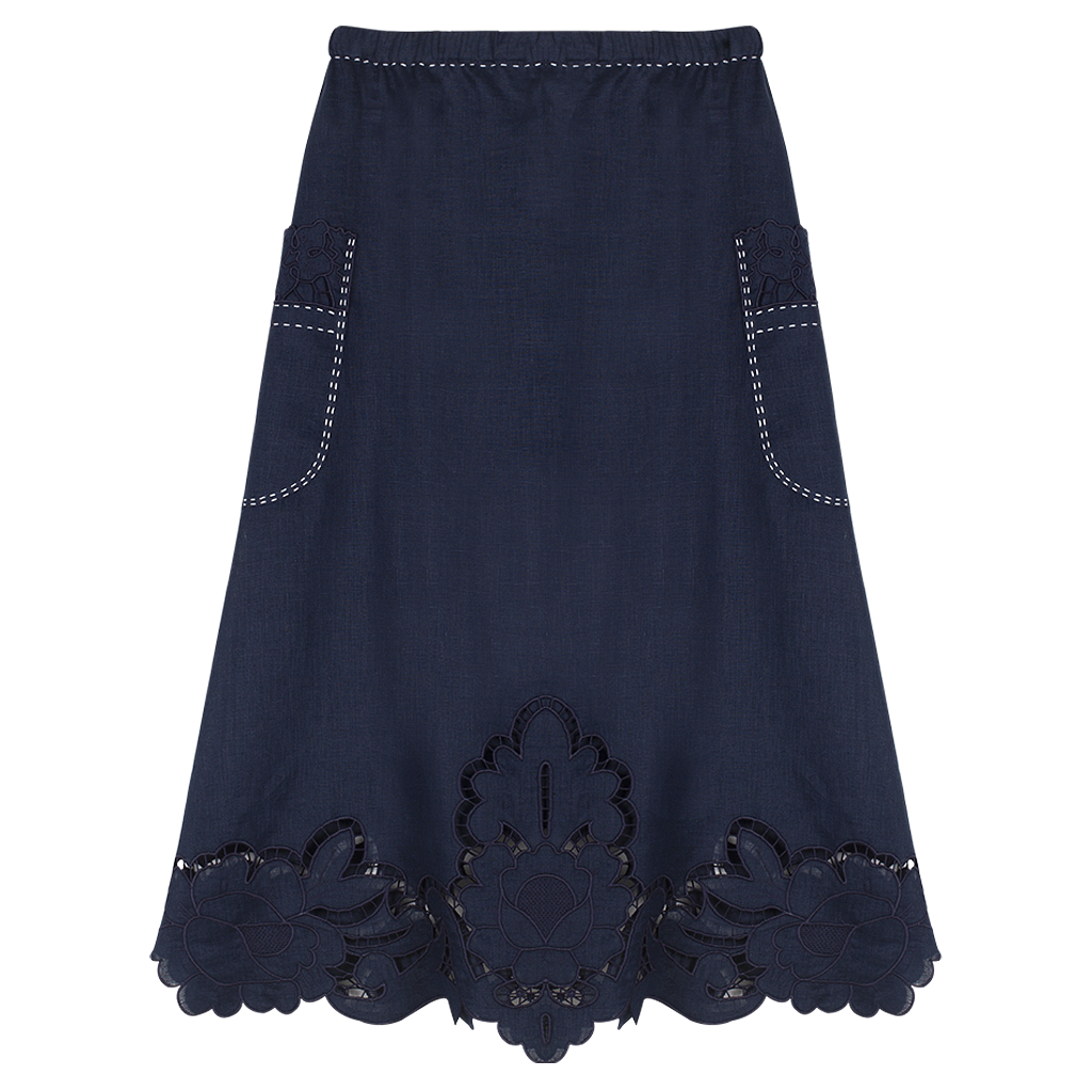 Rosemary Cut-Embroidered Skirt
