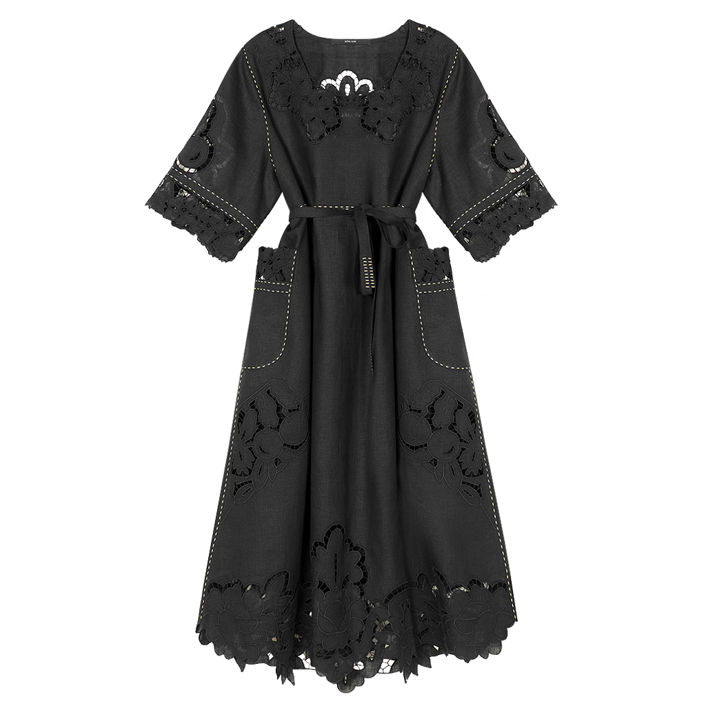 Rosemary Cut-Embroidered Midi Dress