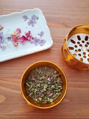 herbal smoking blend with cannabis, wood betony, and pink rose petals
