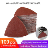 100pcs Triangular Sandpaper Hook & Loop Triangle Sanding Sheets Fit 3-1/8 Inch Oscillating Multi Tool Sanding Pad 40-400 Grit