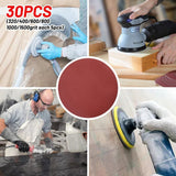 "30pcs 4"" 100mm Sander Disc 320/400/600/800/1000/1500 Grit Sanding Polishing Pad Round Shape Sanding Paper Buffing Sheet"