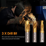 3pcs 6.5mm 8mm 10mm HSS CO Rotary Spot Weld Cutter Sawtooth Point Drill Bit