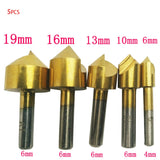5pcs Single Edge Chamfering Tool Countersink Drill Wood Reverse Taper Hole Screw Screw Counterborer Countersink bit