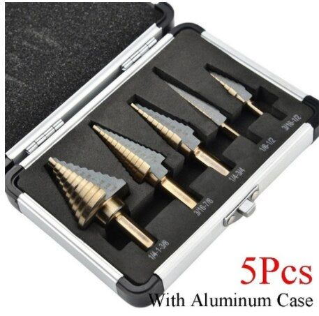 HSS 4241 Cobalt Multiple Hole 50 Sizes Step Drill Bit Set Tools Aluminum Case Metal Drilling Tool for Metal Wood Step Cone Drill
