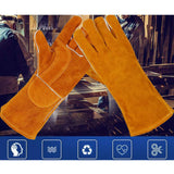 Long Sleeves Welding Safety Gloves Welders Gauntlets Heat Resistant for BBQ