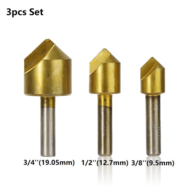 Single Flute Chamfer Drill Bit Set 90 Degrees Hole Cutter Titanium Coated 3/5pcs For Metalworking Tool Countersink Drill Bit Set