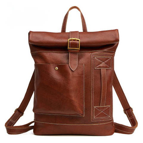 Retro Men's Leather Foldable Backpack P6396
