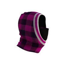 Load image into Gallery viewer, Pook Ninja - Pink Plaid and Black Double Layer Polar Fleece Balaclava