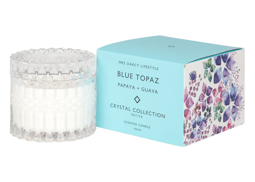 Mrs Darcy candle - petite (Blue Topaz) : Papaya and guava