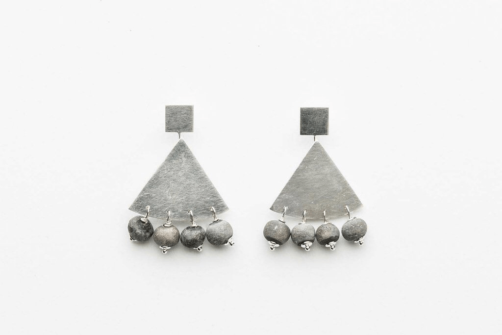 Jewellery - Klaylife | zahara triangle earrings | charcoal,silver - mondocherry