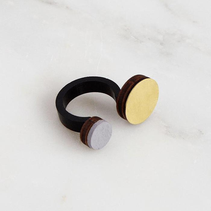 Jewellery - Wolf and Moon | circle dot ring | dove grey - mondocherry