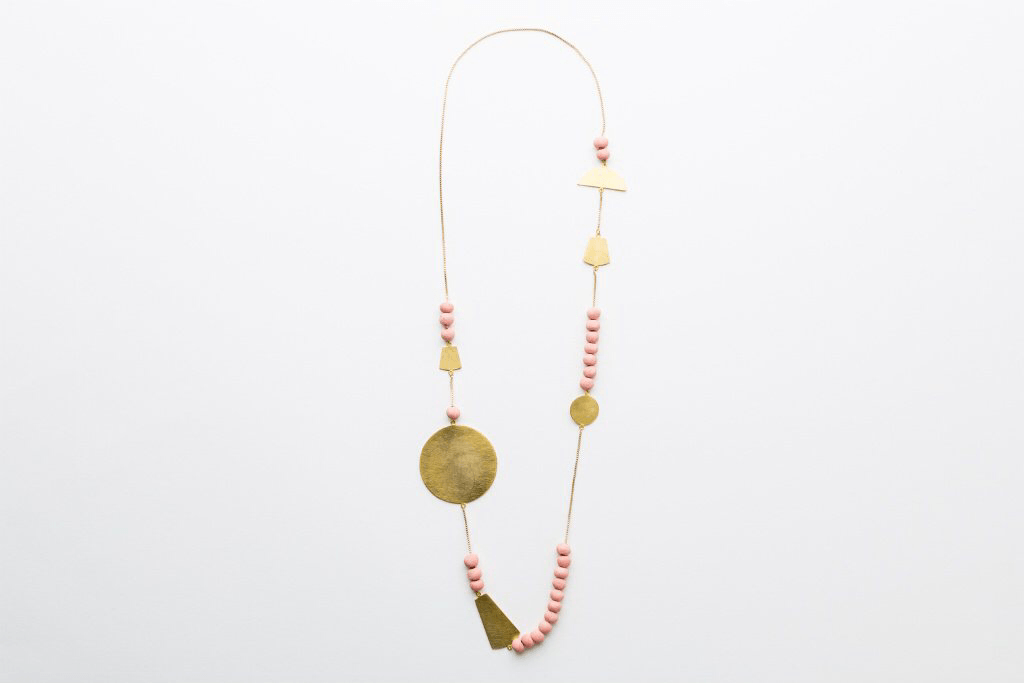 Jewellery - Klaylife | sabah shapes necklace | pink,gold - mondocherry