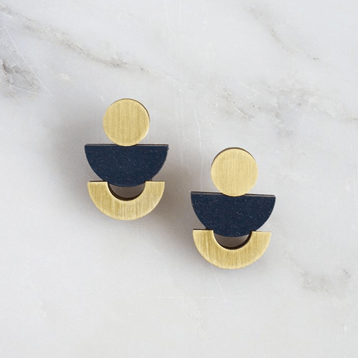 Jewellery - Wolf and Moon | luna studs | midnight blue - mondocherry