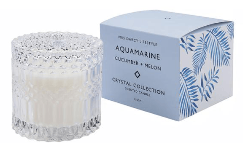 Mrs Darcy crystal collection candle (Aquamarine)-candle-Mrs Darcy-mondocherry