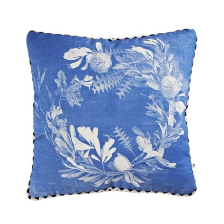 banksia wreath cushion blue