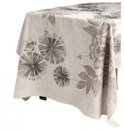 Bonnie and Neil Tablecloth - summer floral black - on table