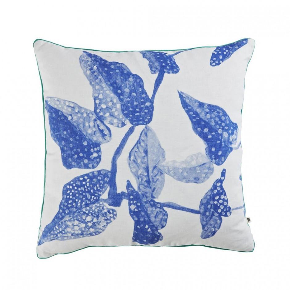 spotted begonia cushion blue