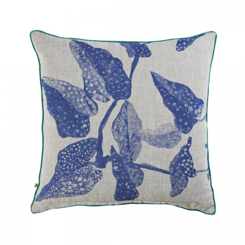 spotted begonia cushion blue - back