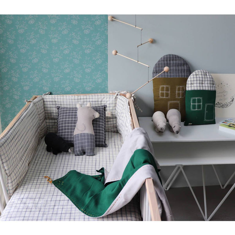 Camomile London | bear kids cushion | smoke and pebble ikat - styled