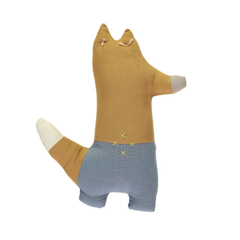 Camomile London | foxy kids cushion | ochre and blue - back