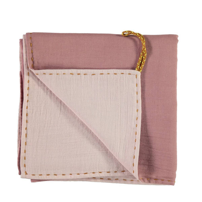 Camomile London | double layer reversible swaddle | blush and pink