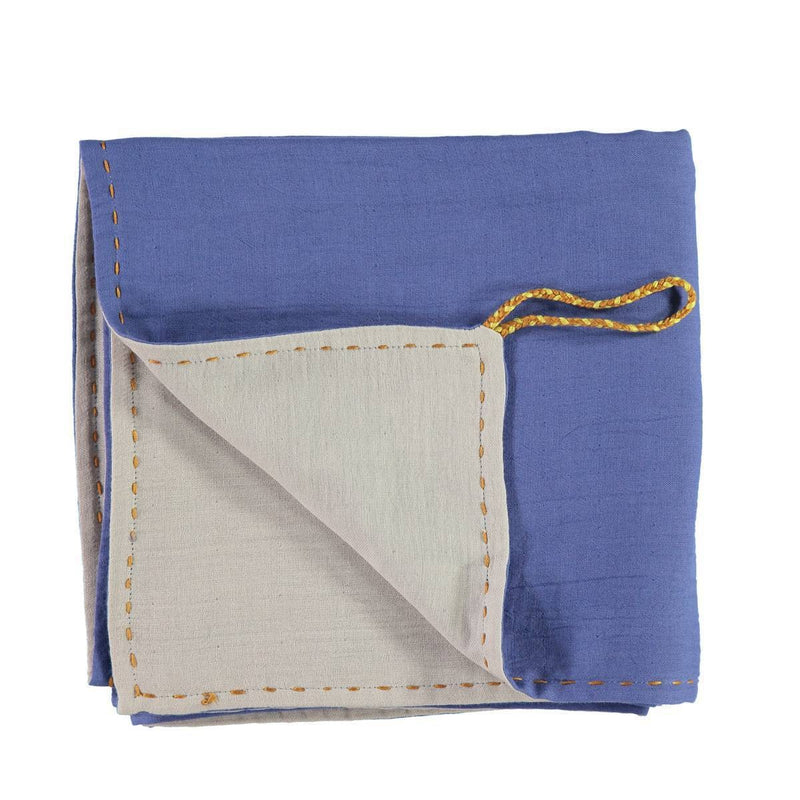 Camomile London | double layer reversible swaddle | royal blue and ash