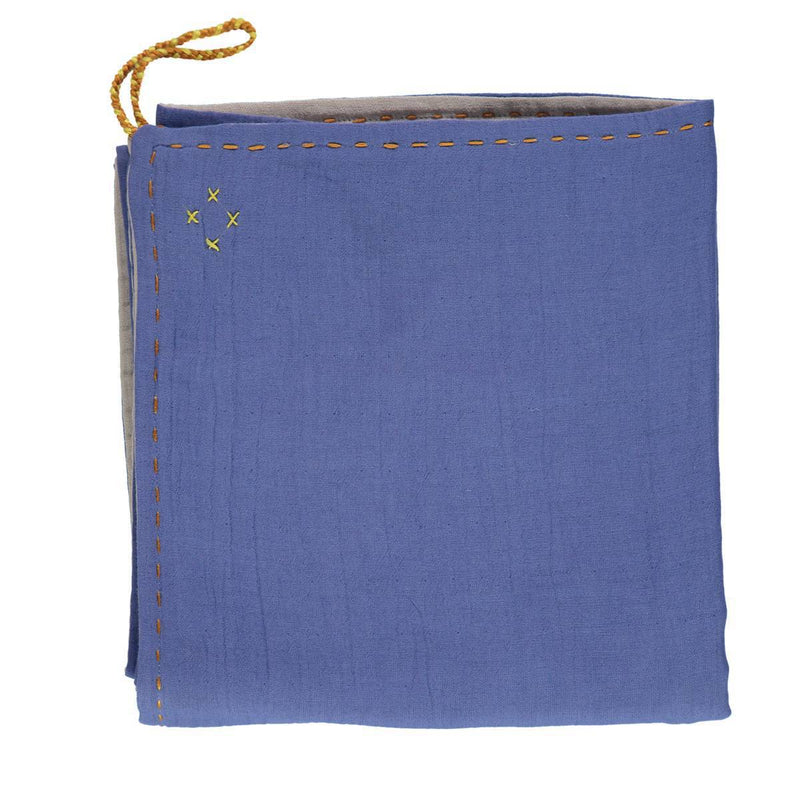 CL | reversible baby swaddle wrap | royal blue and ash - front