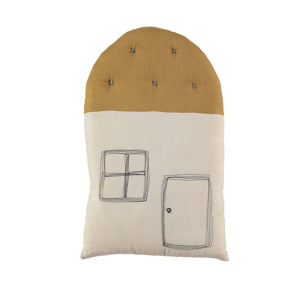 Camomile London | small house kids cushion | stone and ochre