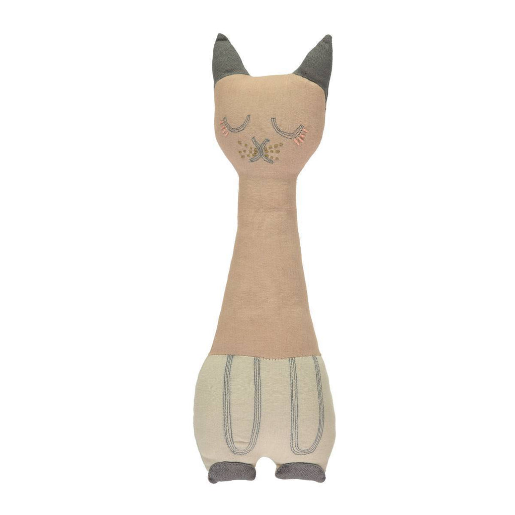 Camomile London | tall cat kids cushion | peach blossom and stone