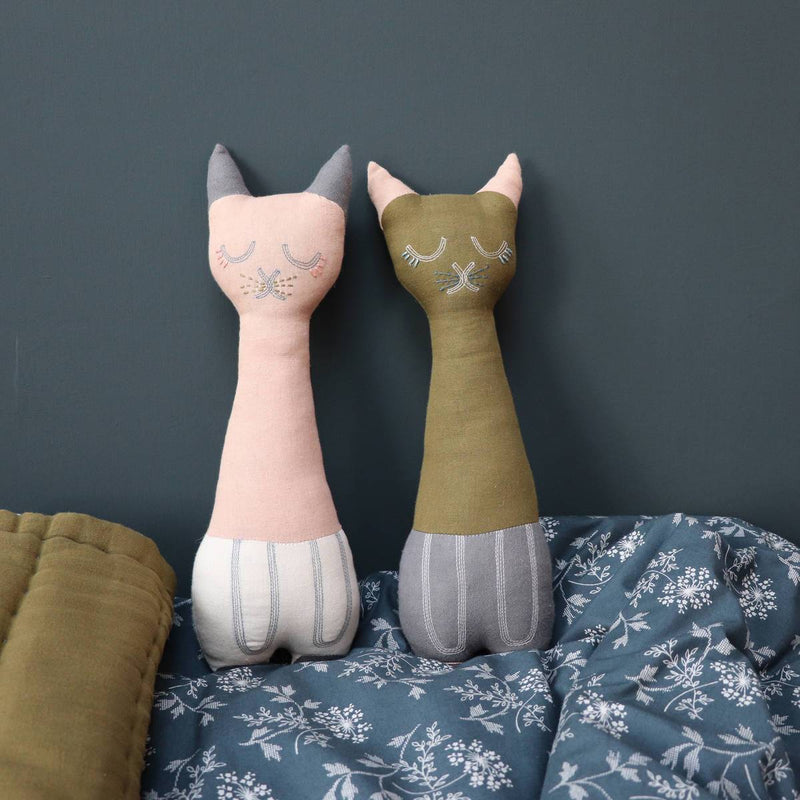 Camomile London | tall cat kids cushion | stone and pink - pair