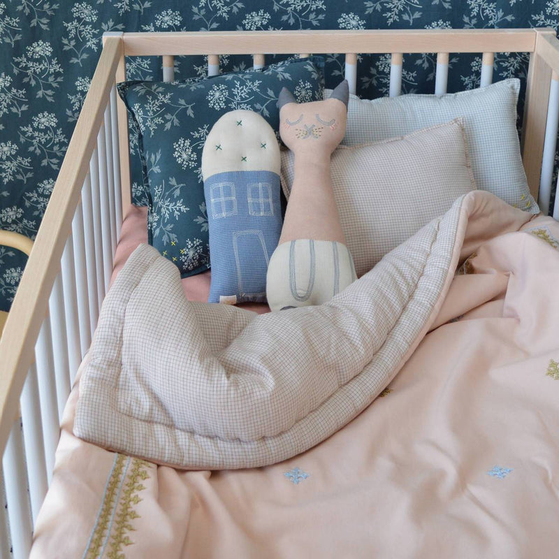 Camomile London | tall cat kids cushion | peach blossom and stone - in cot