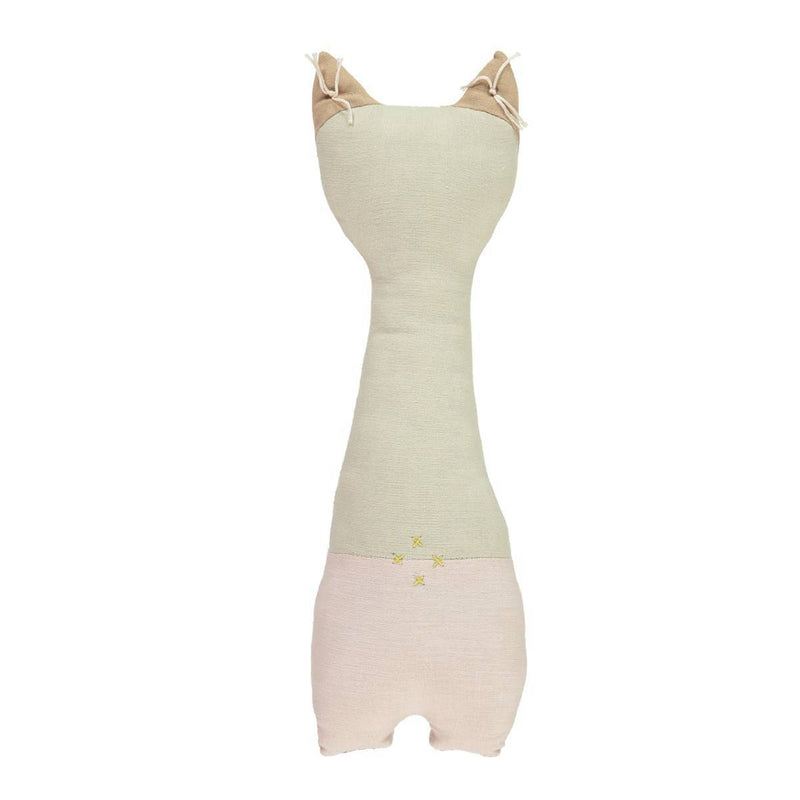 Camomile London | tall cat kids cushion | stone and pink - back