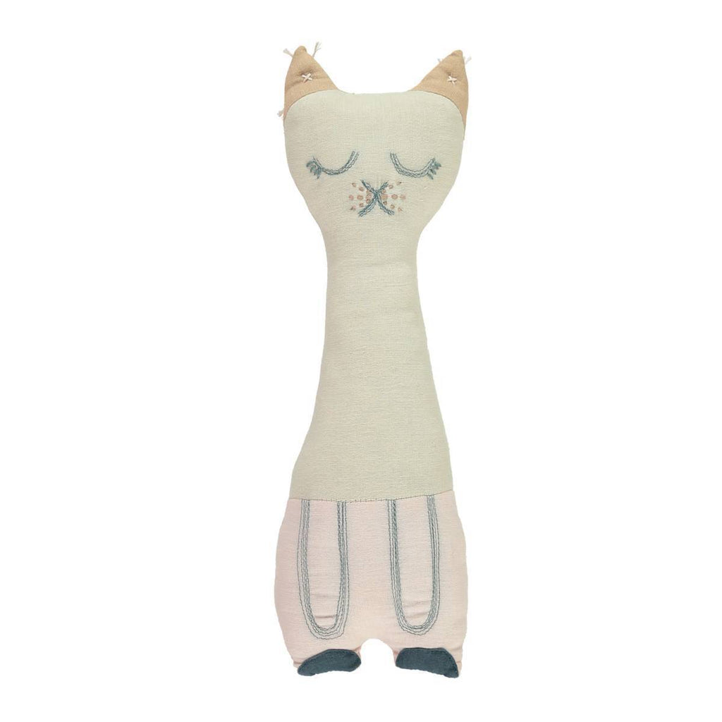 Camomile London | tall cat kids cushion | stone and pink