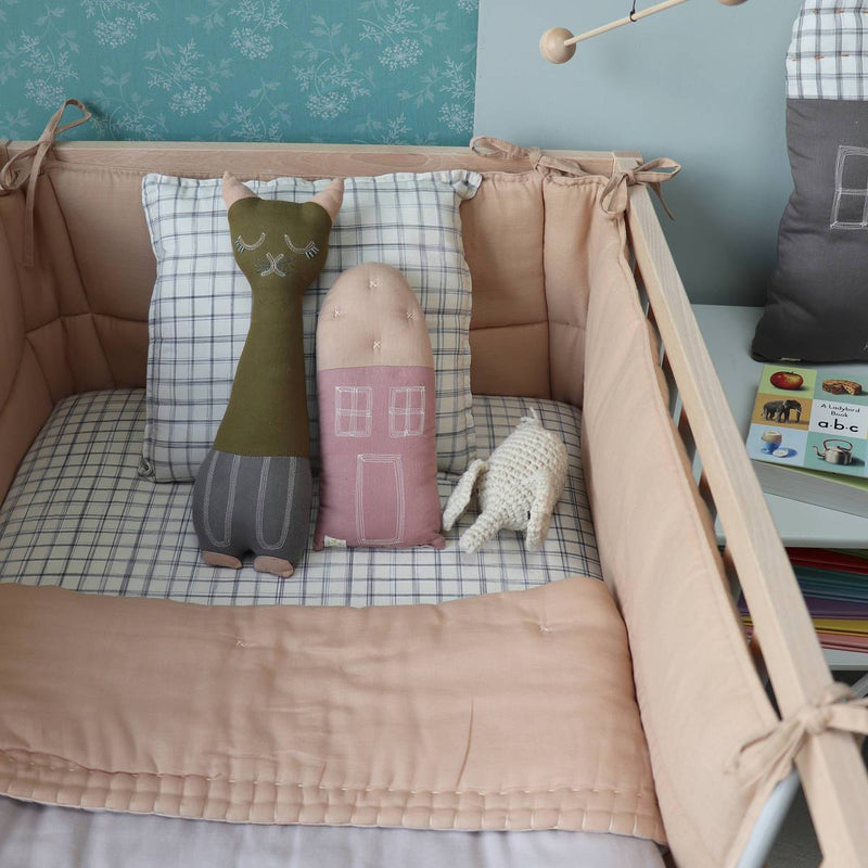 Camomile London | petite house kids cushion | blush and peach blossom - styled