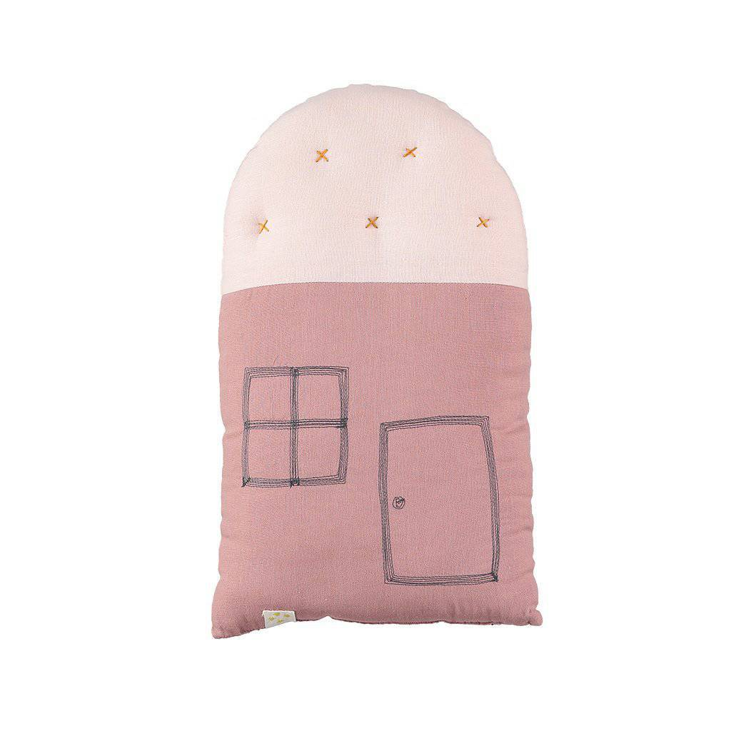 Camomile London | small house cushion | blush and pearl pink