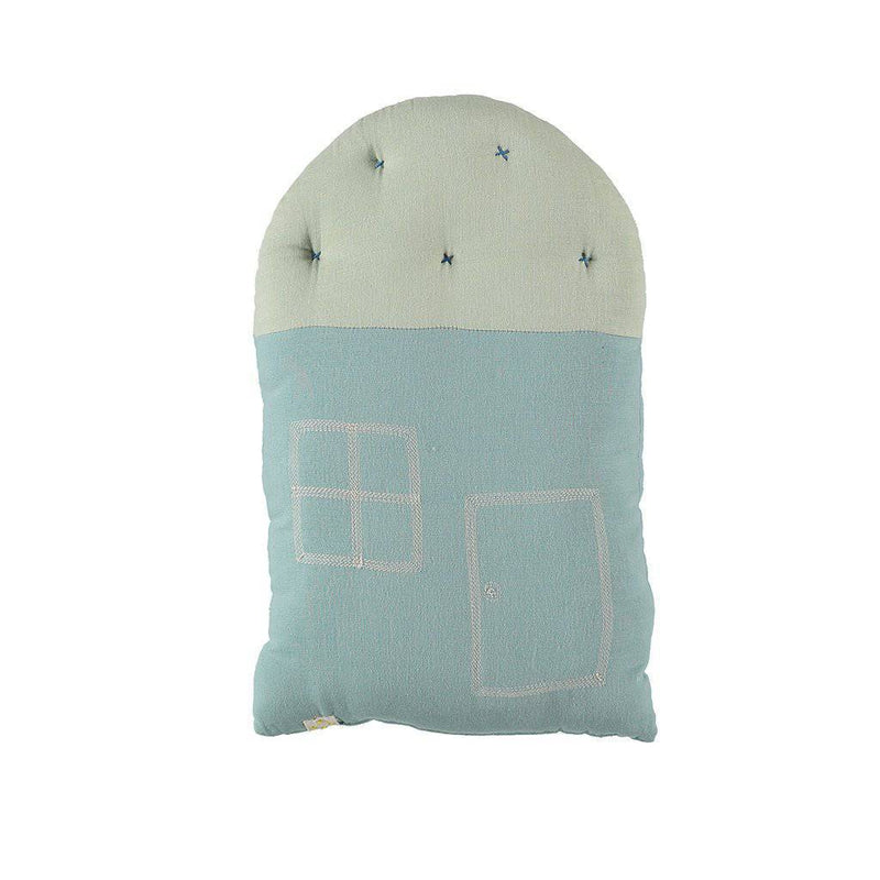 Camomile London | small house cushion | light teal and mint