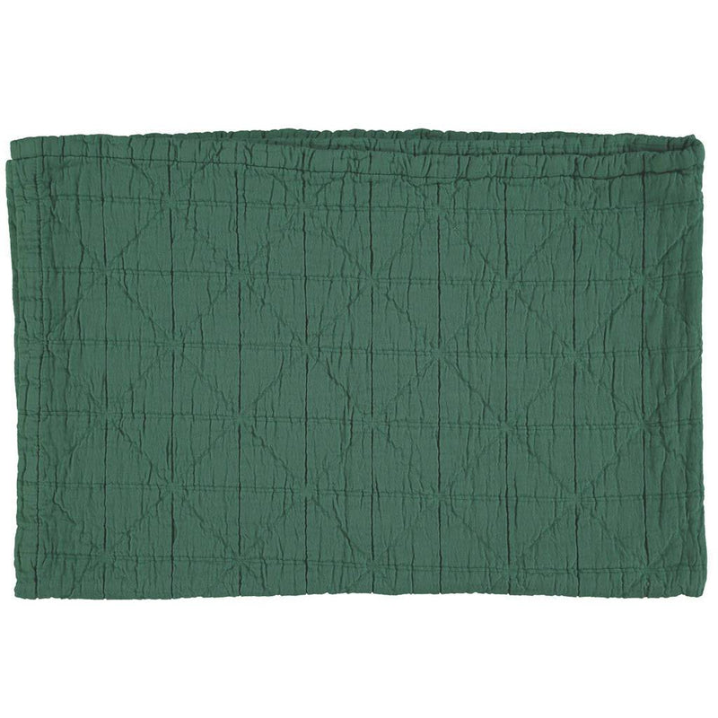 Camomile London | diamond single cotton blanket | green - front