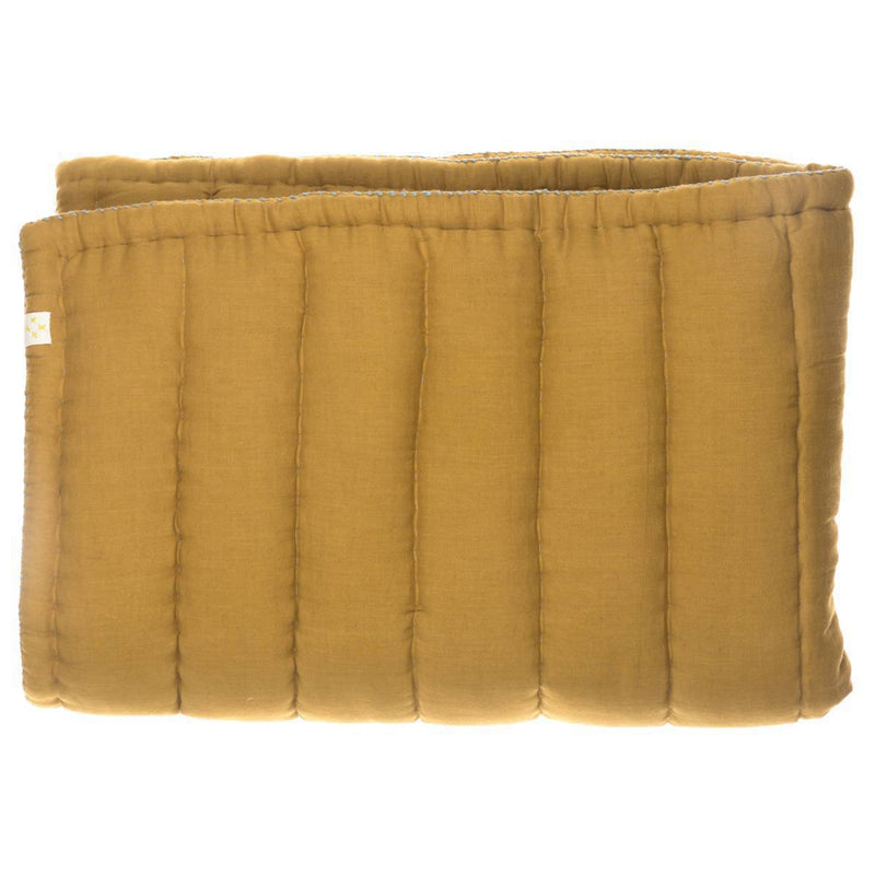 Camomile London Quilted Cotton Blanket | ochre