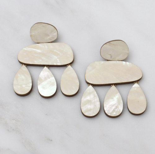 Jewellery - Wolf and Moon | cloud earrings | mother of pearl - mondocherry