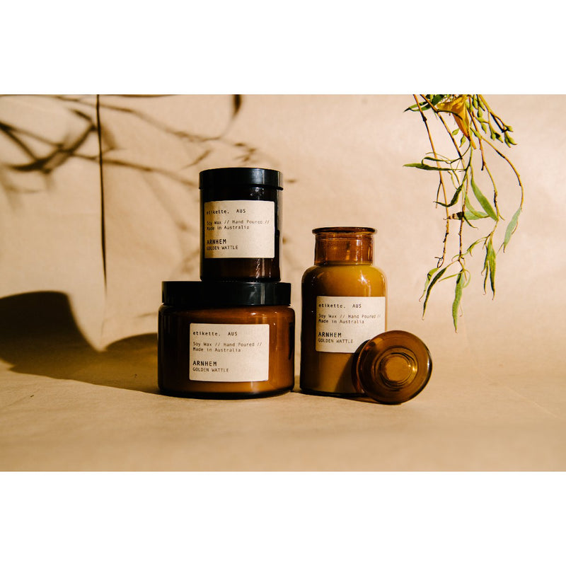 Etikette soy candle | arnhem golden wattle | Collection