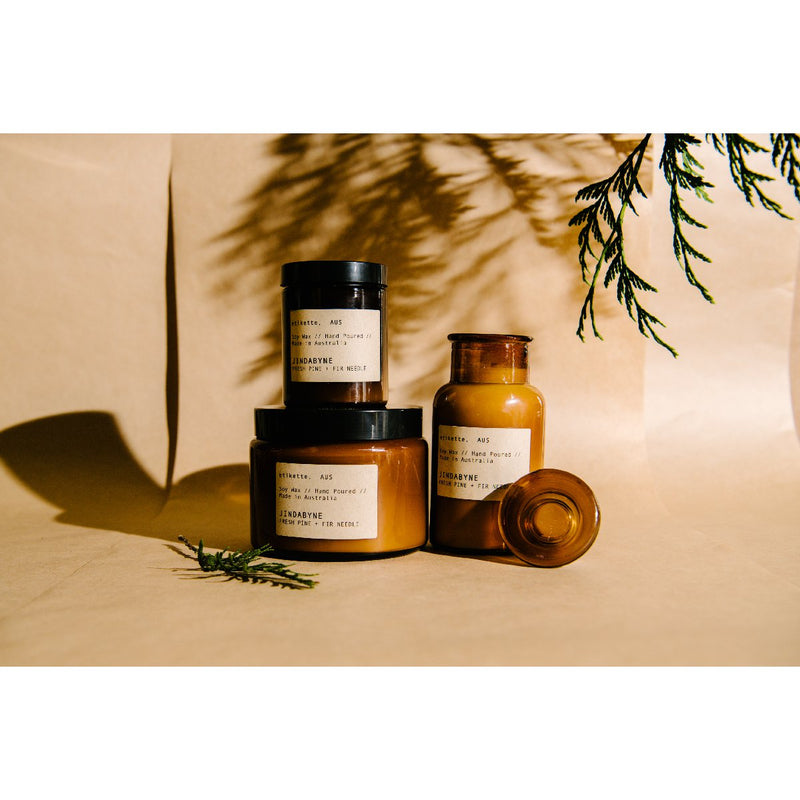 Etikette soy candle | jindabyne fresh fir & pine needle | Collection