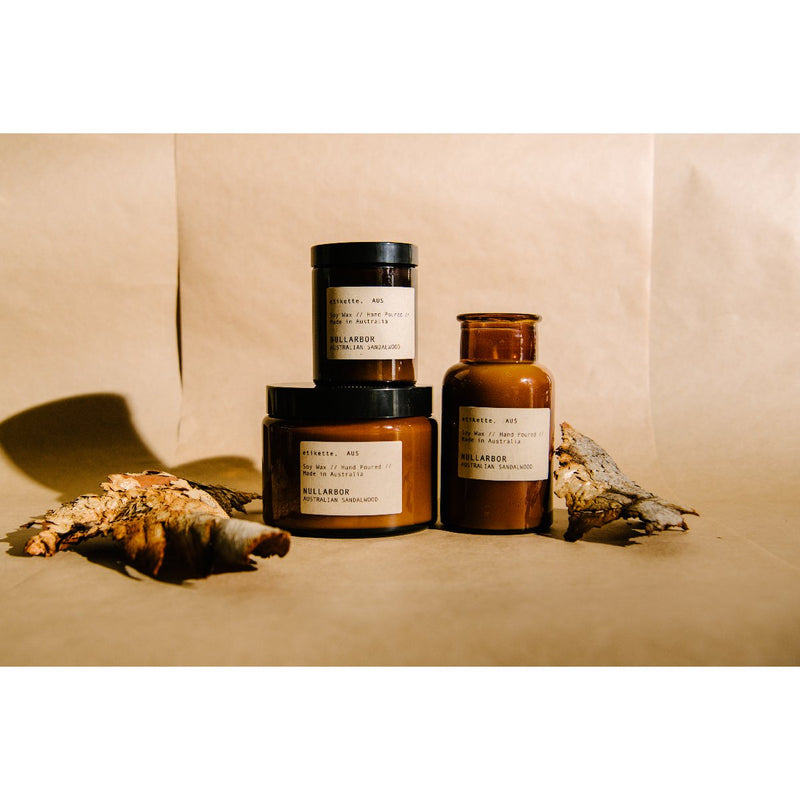 Etikette soy candle | nullabor australian sandalwood | Collection