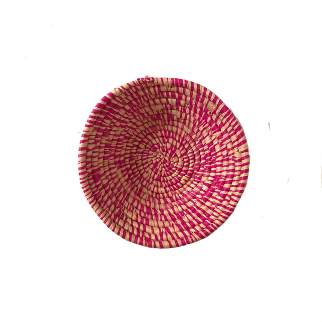 Dandi woven bowl small pink-basket-Couani-mondocherry