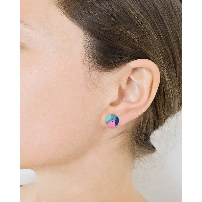 Jewellery - Moe Moe | blue leah mini circle stud earrings - mondocherry