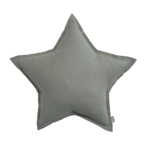 Numero74 sparkling tulle/cotton star cushion (silver grey)-cushion-numero74-mondocherry