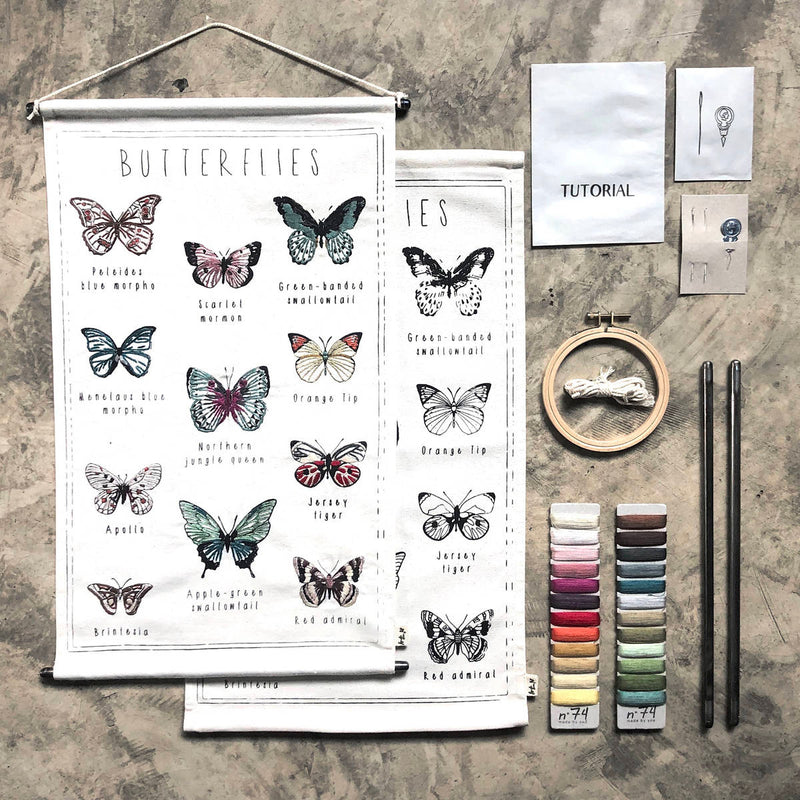 Numero74 | kids embroidery kit | butterflies - layout