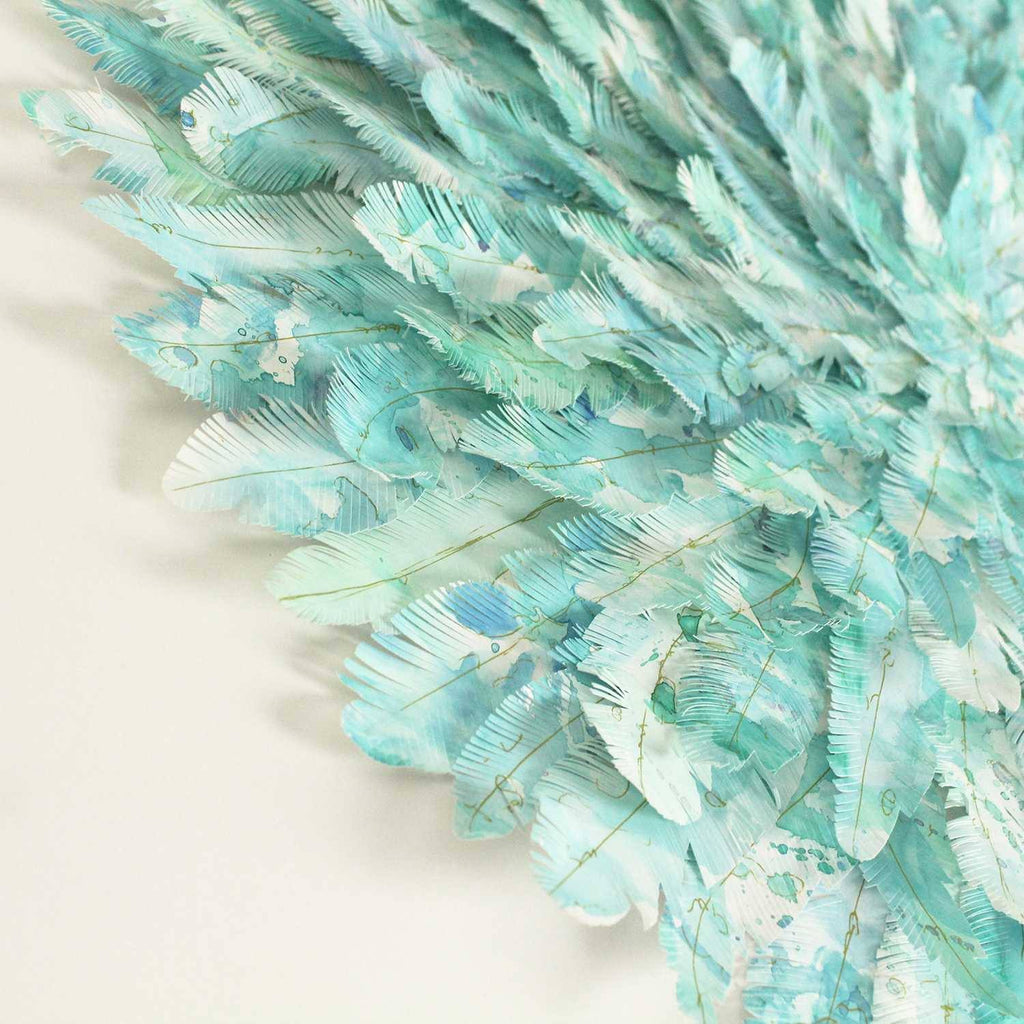 "mondocherry - juju hat paper feather artwork - ""parakeet"" - closeup"