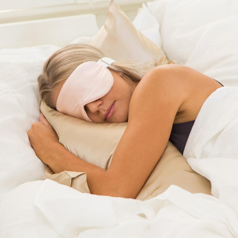 The Goodnight Co mulberry silk sleep mask - pink - wear